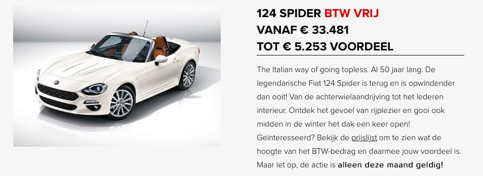 Fiat 124 spider btw vrij
